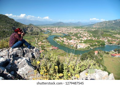 Panoramic pictures of Dalyan city and Dalyan channel women from above