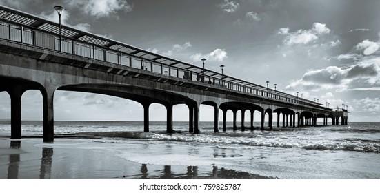 Panoramic Pier B&W