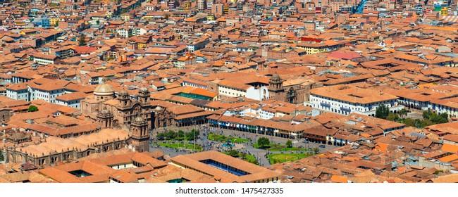 Panoramic Plaza de Armas main square and historic center of Cusco city, Peru.