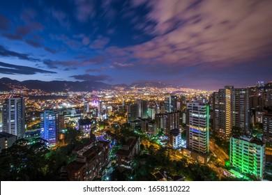 Panoramic of the poblado, Medellin at night.