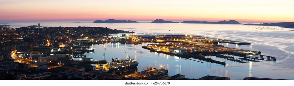 panoramic of the port of Vigo city the largest city of Galicia, Spain at sunset