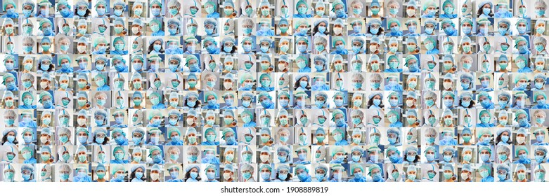 Panoramic portrait collage of doctors and nursing team with face mask during Covid-19
