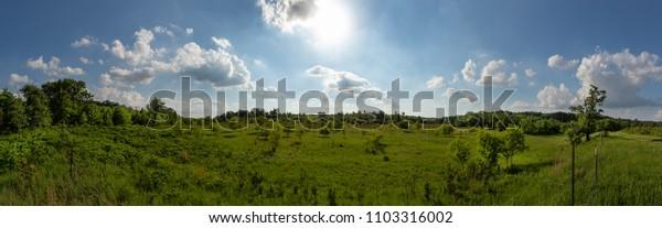 Panoramic Prairie Vista in Rural Minnesota