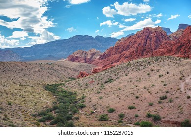 A panoramic of Red Rock Canyon National Park.