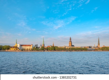 Panoramic Riga city. view from AB Dambis across Daugava river