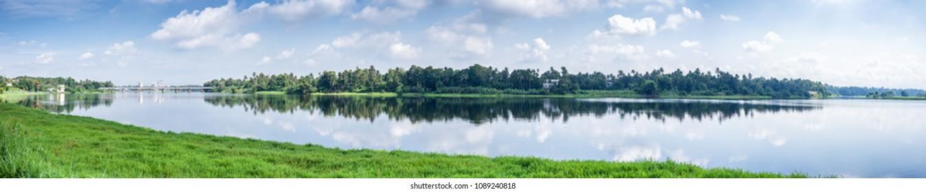 Panoramic river view in Kerala, India.