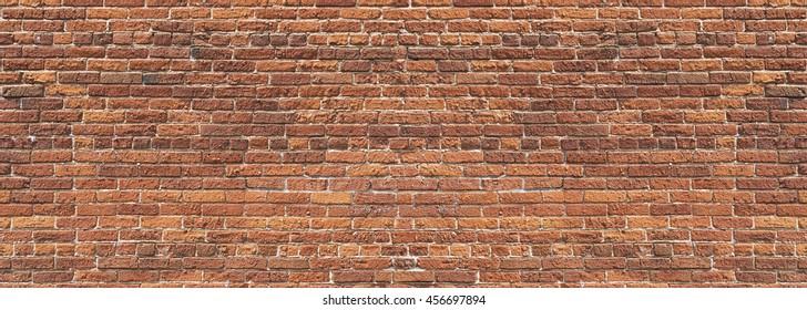 Panoramic  rugged old red brown bricks wall