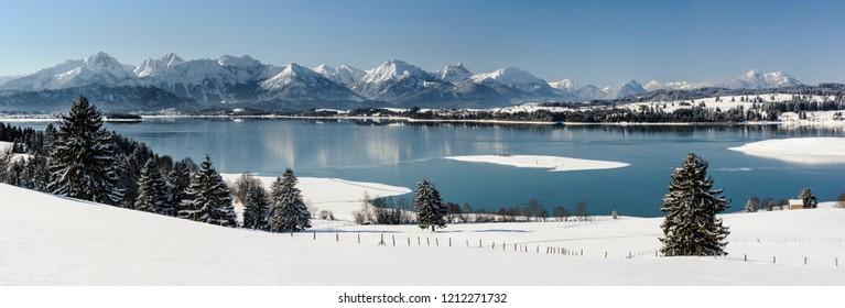 panoramic rural landscape in Bavaria at winter