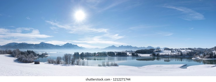 panoramic rural landscape in Bavaria at winter