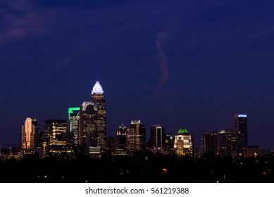 The panoramic scene of the Charlotte, North Carolina skyline at the civil start of light