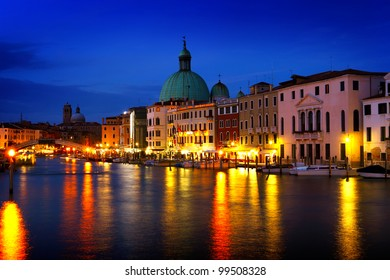 panoramic scene of Venice in dusk