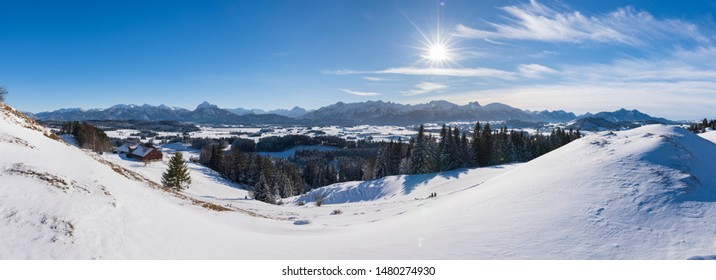 panoramic scene at winter in Bavaria, Germany