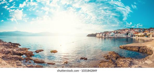 Panoramic scenery of a beautiful beach of town Postira - Croatia, Brac island