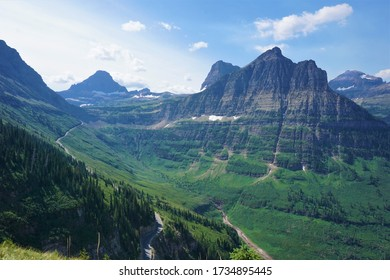 Panoramic scenic alpine mountain views along the Highline Trail with the Going the Sun Road in Glacier National Park Montana