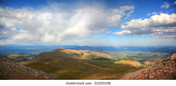 Panoramic of scenic mountains range view from Mt. Evans at the summit in Colorado