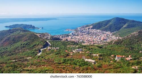 Panoramic Scenic View Of Buva A Seaside City In Montenegro, Europe During Summer