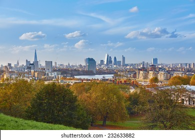 Panoramic scenic view of London cityscape seen from Greenwich