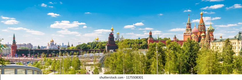 Panoramic scenic view of Moscow Kremlin and St Basil's Cathedral, Russia. Moscow Kremlin is the main tourist attraction of Moscow. Horizontal banner with the beautiful Moscow cityscape in summer.