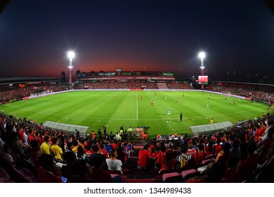 Panoramic of SCG Stadium during The Football Thai League match between SCG Muangthong United and PT Prachuap F.C.at SCG Stadium on February 24,2019 in Nonthaburi, Thailand