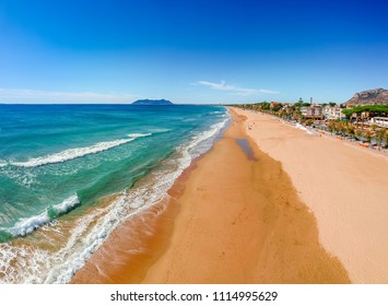 Panoramic sea landscape with Terracina, Lazio, Italy. Scenic resort town village with nice sand beach and clear blue water. Famous tourist destination in Riviera de Ulisse