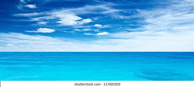 Panoramic sea. Tropical horizontal composition