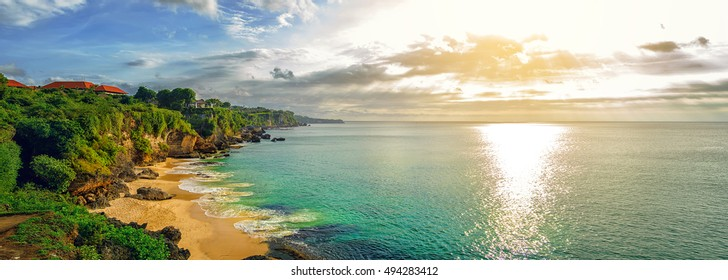 Panoramic sea view with picturesque beach at sunset. Tegalwangi beach, Bali, Indonesia