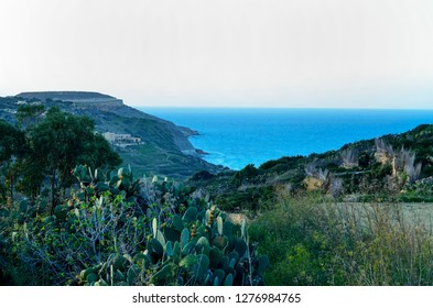 Panoramic sea view surrounded by hills and green vegetation on Gozo Island, Malta
