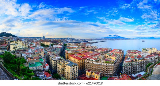 Panoramic seascape of Naples, view of the port in the Gulf of Naples, Torre del Greco, and Mount Vesuvius. The province of Campania. Italy.