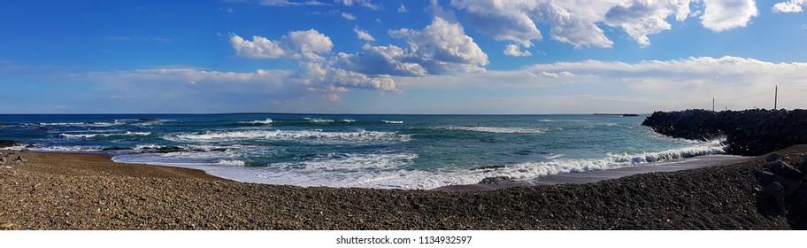 Panoramic seashore view, Japan, Ibaraki prefecture