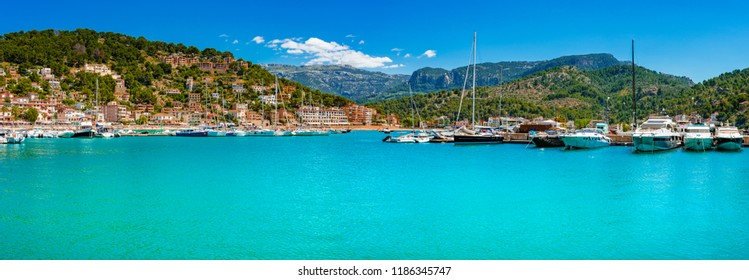 Panoramic seaside landscape view of yachts at bay of Port de Soller, Mallorca, Mediterranean Sea