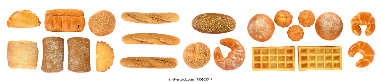 Panoramic set of fresh bread products isolated on white background. Top view. Flat lay.