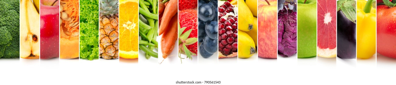 Panoramic set fruits, vegetables and berries on white background.