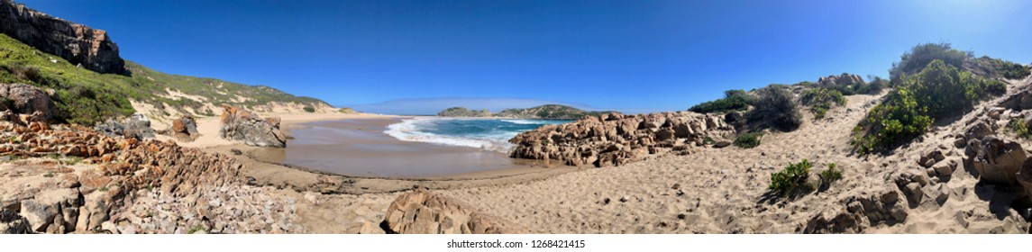 Panoramic shot of a beautiful beach in the Robberg Nature Reserve near Plettenberg Bay on the Garden Route, Western Cape, South Africa