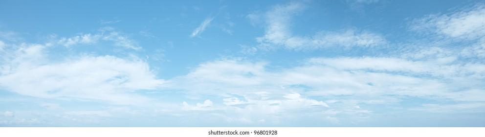 Panoramic shot of a beautiful cloudy sky