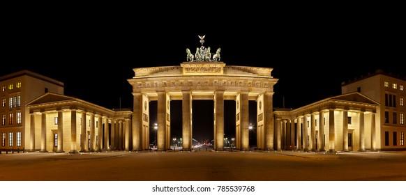 Panoramic shot of the Brandenburg Gate in winter.