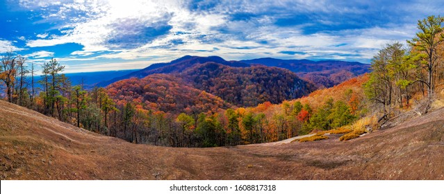 panoramic shot in the Carolinas beautiful colors and lots of sky. mountian landscape.