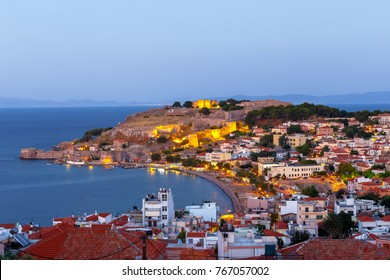 Panoramic shot of the castle of Mytilene in Lesvos island, Greece in the evening, one of the largest castles in the Mediterranean