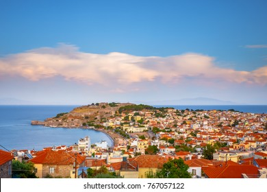 Panoramic shot of the castle of Mytilene in Lesvos island, Greece, one of the largest castles in the Mediterranean