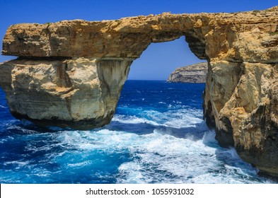 Panoramic shot of the famous stone arch in Dwejra on Gozo, Malta. The world famous arch collapsed in 2017.