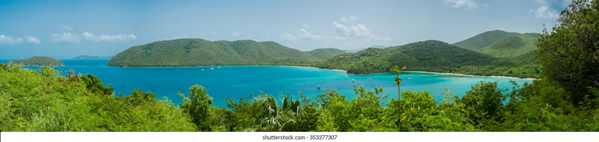 Panoramic shot of Francis (left) and Maho (right) beaches on St. John