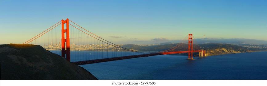 Panoramic shot of the Golden Gate Bridge of San Francisco, California
