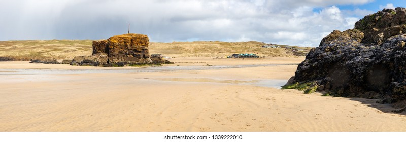 Panoramic shot of the golden sandy beach at  Perranporth Cornwall England UK Europe