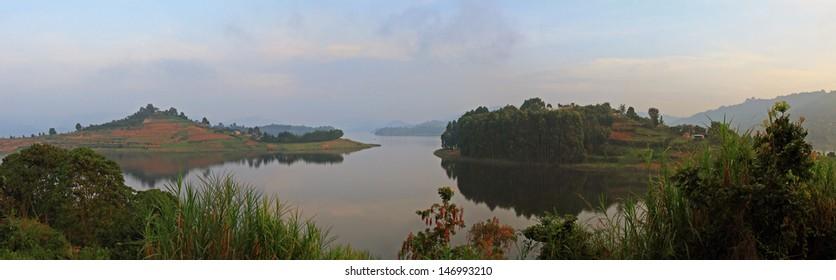 A panoramic shot of islands in Lake Bunyoni, Uganda.  Taken looking out from Itambira Island.