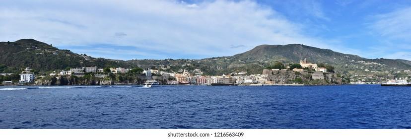 panoramic shot of Lipari village nad island  in Aeolian archipelago,Italy