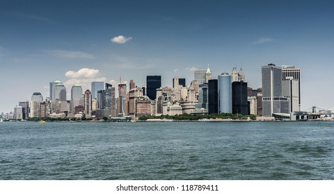 Panoramic shot of Manhattan in New York city, USA on a sunny summer day.