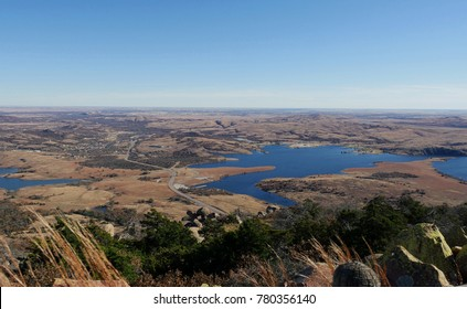 Panoramic shot of medicine Park with Lake Lawtonka in the Comanche County, Oklahoma viewed from the peak of Mt. Scott.