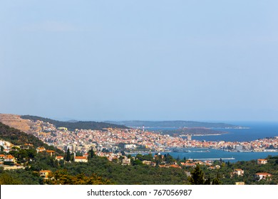 Panoramic shot of Mytilene town in Lesvos island, Greece.  Mitilene is the capital and port of the island of Lesbos and the North Aegean Region.