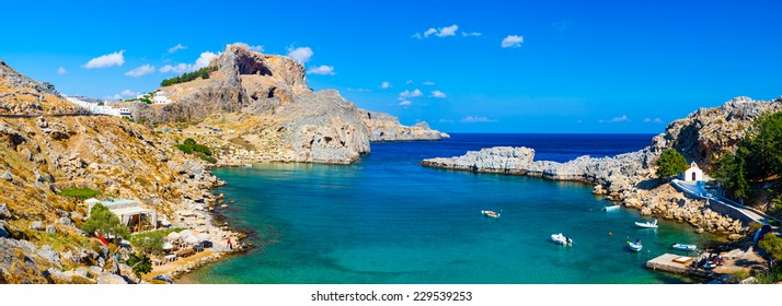 Panoramic shot overlooking St Pauls Bay at Lindos on the Island of Rhodes Greece Europe