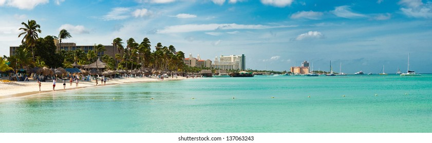 Panoramic shot of Palm Beach, Aruba