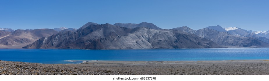 Panoramic shot of Pangong lake, Ladakh, India